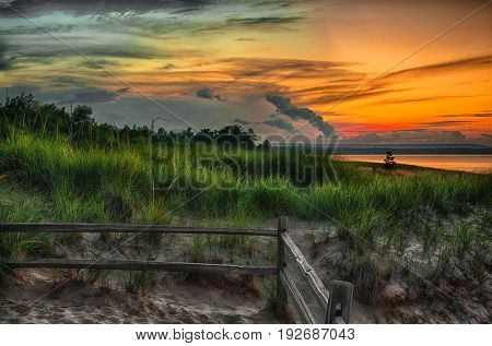 Beautiful Autrain beach on the shores of Lake Superior in Upper Michigan
