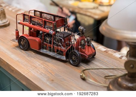 Antique Toy Fire Engine. Interior Detail In A Cafe