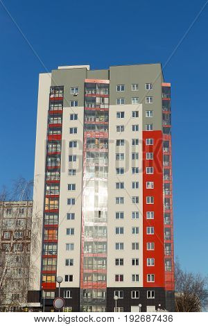 Modern And New Apartment Building. Multistoried, Modern, New And Stylish Living Block Of Flats. Real