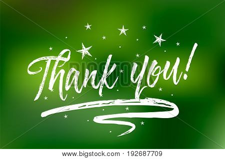 Thank you. Bokeh green lights background. Beautiful greeting card scratched calligraphy white text word stars. Hand drawn invitation T-shirt print design. Handwritten modern brush lettering
