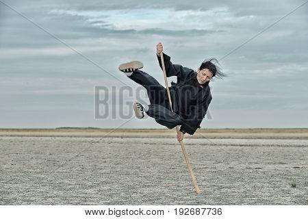 Qigong With Stick, Outdoors Image, Toned Image, Horizontal Image