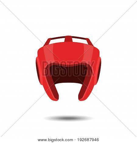 Red boxing helmet on a white background. Icon of the boxer's equipment in realistic style. Vector illustration