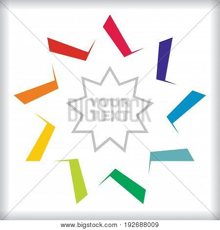 Abstract color star template with border background