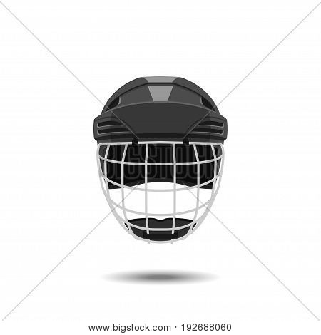 Hockey helmet on a white background. Sports mask goalkeeper in a realistic style. Vector illustration