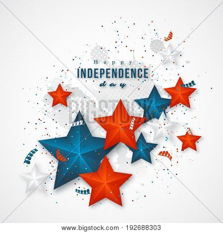 USA independence day. Holiday background with 3d stars, confetti, grunge texture. Vector illustration.