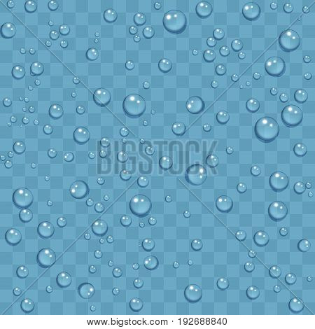 Clean water drops of dew on transparent background. Vector illustration seamless