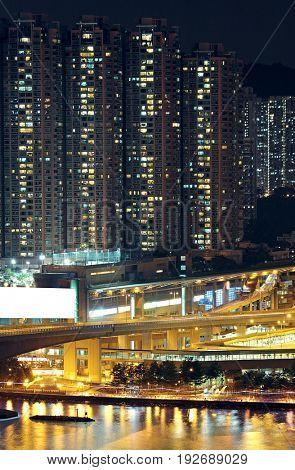 Night shot of a city skyline.