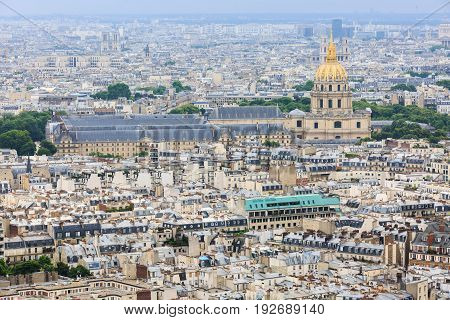 The Army Museum (Musee de l'armee) in Paris France aerial view.
