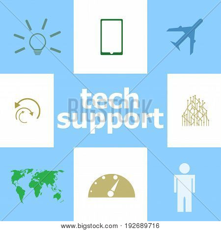 Text Tech support. Information concept . Infographic Elements. Icon set