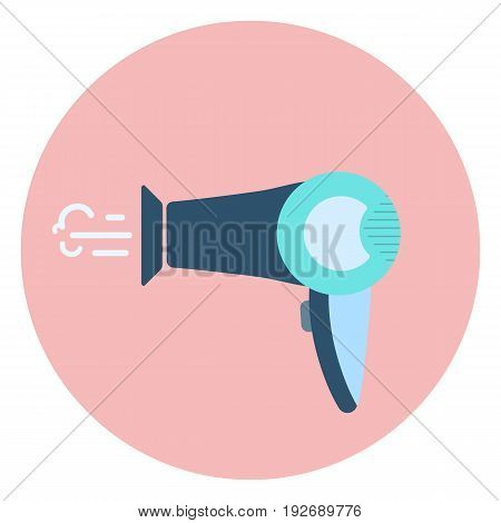 Flat blue hair dryer icon, stylist electric hair dresser symbol, beauty hair care