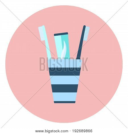 Blue flat toothpaste and two brushes in glass, bathroom equipment, personal dental hygiene symbol, couple morning and evening teeth cleaning