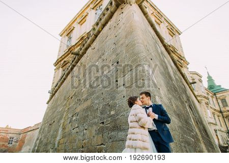 The happy newlyweds are kissing near the walls of the ancient palace. The downside view