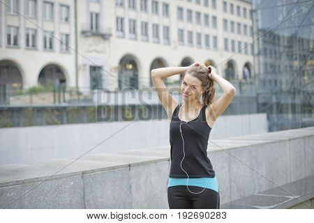 Trained girl wearing sporty clothes