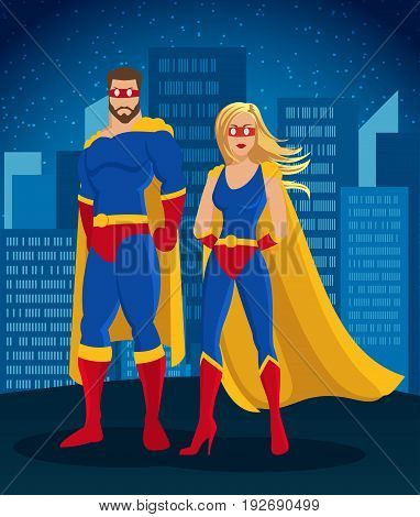 Cartoon super heroes characters poster with man and woman wearing mask costume on night cityscape background vector illustration