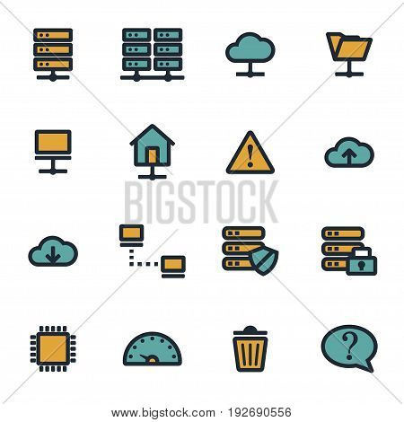 Vector flat ftp icons set on white background