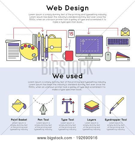 Colorful linear web design concept with different devices tools and instruments for drawing vector illustration