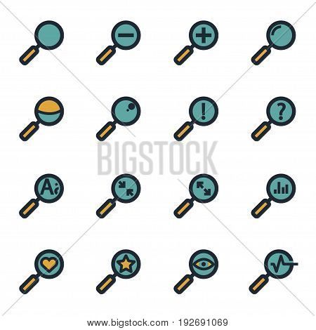 Vector flat magnifying glass icons set on white background