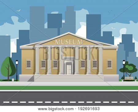 Color illustration depicting museum building with title and columns vector illustration