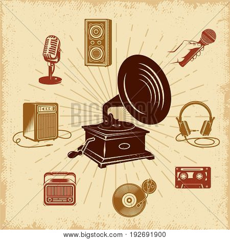 Karaoke vintage composition with black gramophone in rays and retro audio equipment on grunge background vector illustration