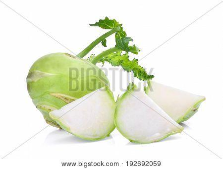fresh green kohlrabi with slice isolated on white background