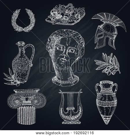 Isolated hand drawn greece icon set with isolated images of antique statues olive branch and amphora vector illustration