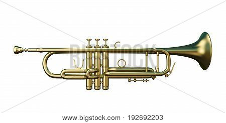 3d illustration of a trumpet isolated on white background