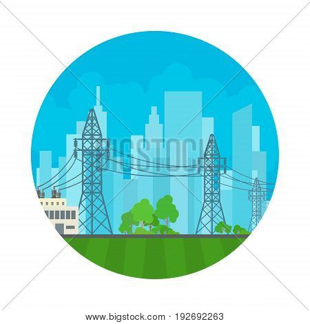 Icon High Voltage Power Lines Supplies Electricity to the City Electric Power Transmission Vector Illustration