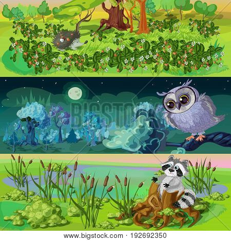 Cartoon animals banners set with hedgehog in strawberry owl under moon raccoon in reeds isolated vector illustration