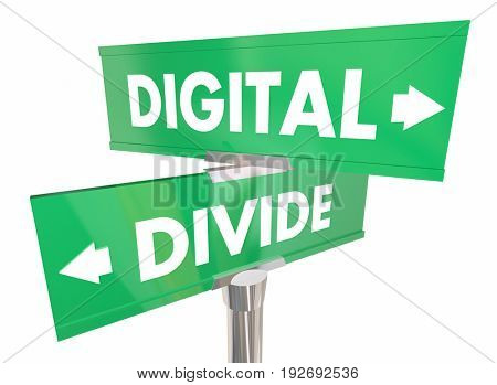 Digital Divide Internet Access Separation Two Signs 3d Illustration