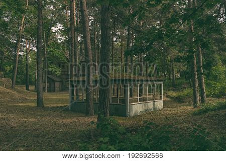 Mysterious summer house on the background of a wooden abandoned abandoned house in a pine forest