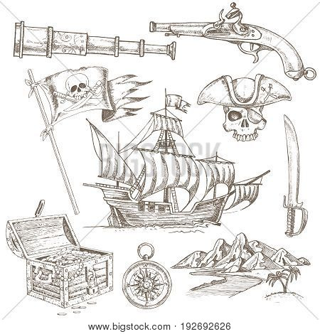Set of hand drawn pirate elements with sailboat treasure chest and jolly roger flag isolated vector illustration