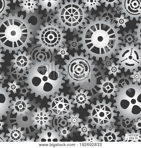 Seamless Pattern Of Metal Gears.