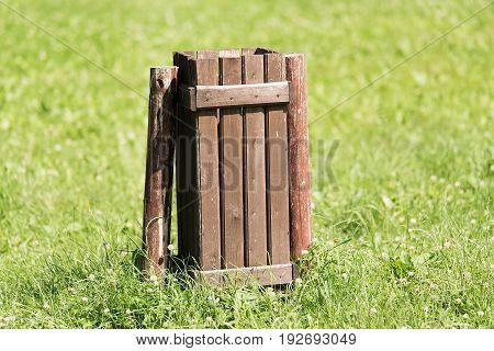 Wooden Dustbin In The Park