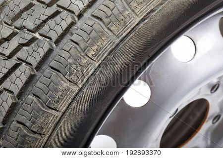 Wheel of a car closeup detail