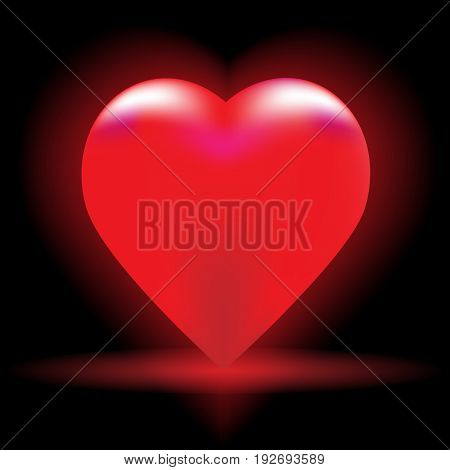 Beautiful vector illustration. Bright red heart on a black background