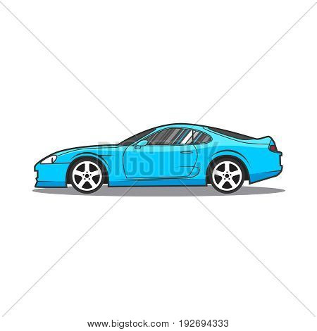 Vector blue sport car isolated. Side view.
