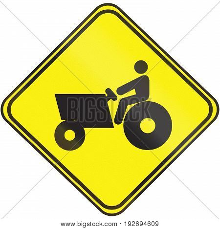 Road Sign Used In Uruguay - Tractor Crossing