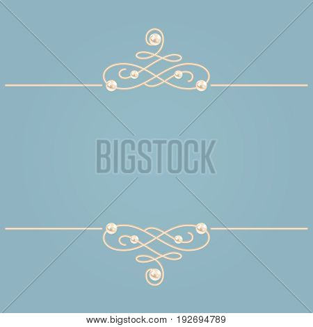 Elegant golden knot sign. Blue and beige pastel illustration beautyful calligraphic flourish dividers with pearls. Vector