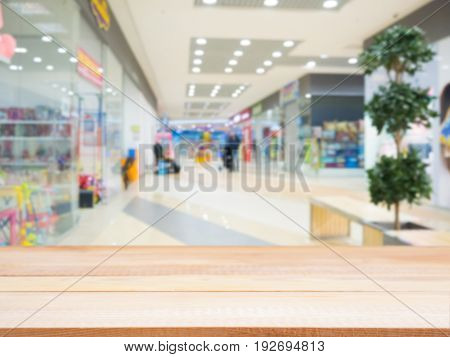 Empty Table And Shopping Mall Blur