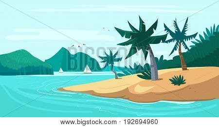 Tropical beach. Island with palm trees and yachts. Vector illustration.
