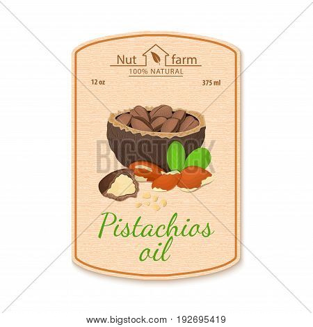 Vector brazilian nut oil lable. Composition of brazil nut. Design of a sticker for jar walnut nut oil, almond butter. Sticker in retro style with texture for your design packaging cosmetics oil