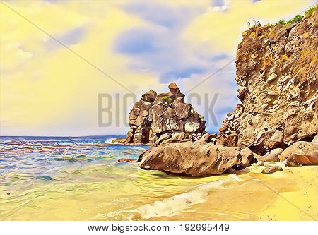 Seaside with stones and big rock. Beach vintage postcard. Holiday on tropical island. Exotic seaside digital illustration. Sea water and sunny beach poster. Relaxing paradise landscape with ocean