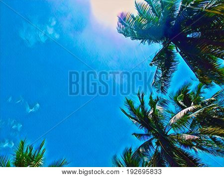 Palm tree green leaf on sunny sky. Coco palm tree top digital illustration. Palm leaf frame. Tropical weekend poster. Summer travel banner with text place. Exotic island beautiful nature background