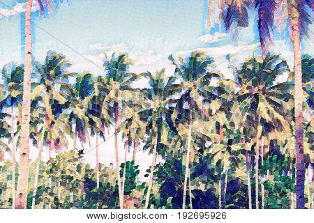Palm tree forest on blue sky. Coco palms scene. Tropical island vacation faded digital illustration. Exotic vacation destination banner. Tropical lifestyle background. Summer travel backdrop