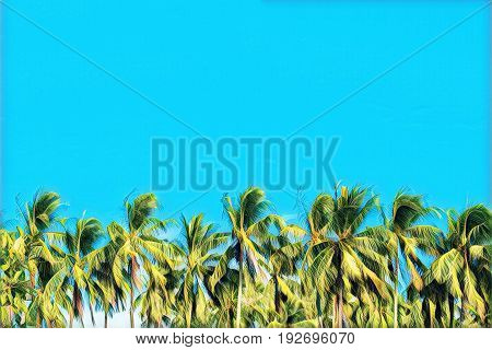 Palm tree forest on cyan sky. Coco palms skyline. Tropical island vacation colorful digital illustration. Exotic holiday travel banner with text place. Tropical lifestyle background. Summer backdrop