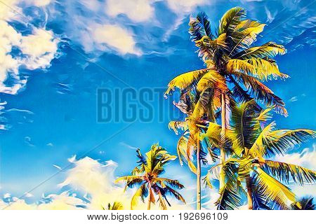Coco palm tree with green leaves on blue sky. Tropical island vacation vivid digital illustration. Exotic holiday travel banner with text place. Tropical lifestyle background. Summer holiday poster