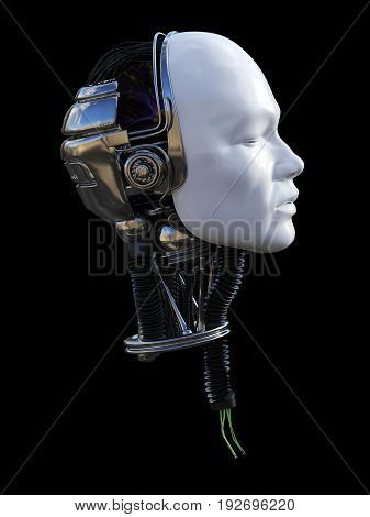 3D rendering of severed male robot head in profile with torn cables coming out from the neck. Black background.