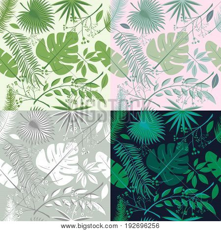 Tropical seamless patterns collection. Set of hawaiian plants palm leaves. Good for wallpaper invitation cards textile print. Vector illustration. Botanical floral trendy illustrations