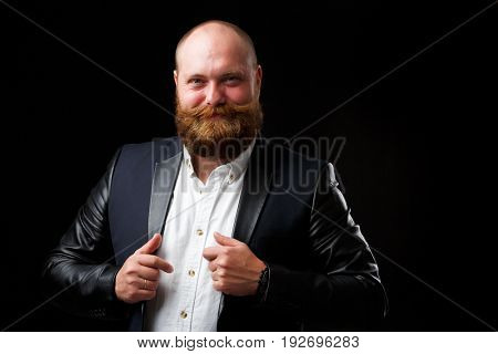 Satisfied man with ginger beard