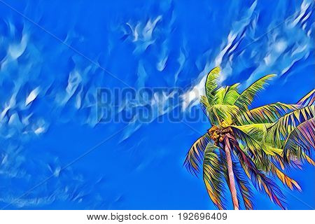 Single palm tree on blue sky. Coco palm skyscape. Tropical island vacation vintage digital illustration. Exotic vacation destination banner. Tropical lifestyle background. Summer travel backdrop
